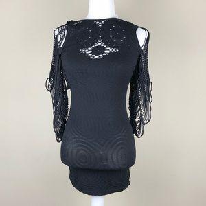 BEBE | Black Bodycon Slashed Dress Spandex | Small